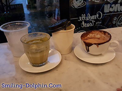 Our drinks at Cafe waiting for rain
