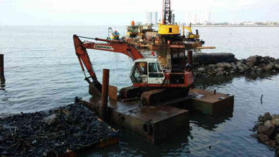 Heavy equipment on the sea