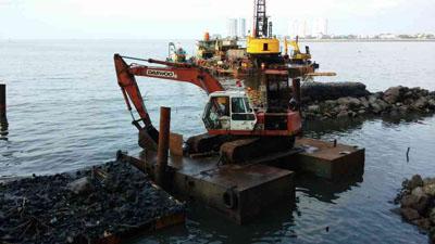 Heavy equipment on the sea